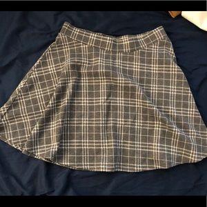 Forever 21 Gray Checker Skater Skirt